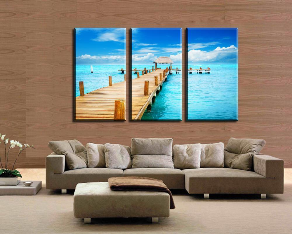 Seaview Passerella in legno Decorazione moderna Pittura a olio su tela 3 pezzi Pitture murali Soggiorno Arte