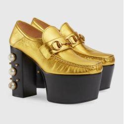 75531941e GOLD STACKED PEARL STUDDED PLATFORM METALLIC LEATHER LOAFER Women Pumps  Loafers Ballerina Flats Espadrilles Wedges Sneakers