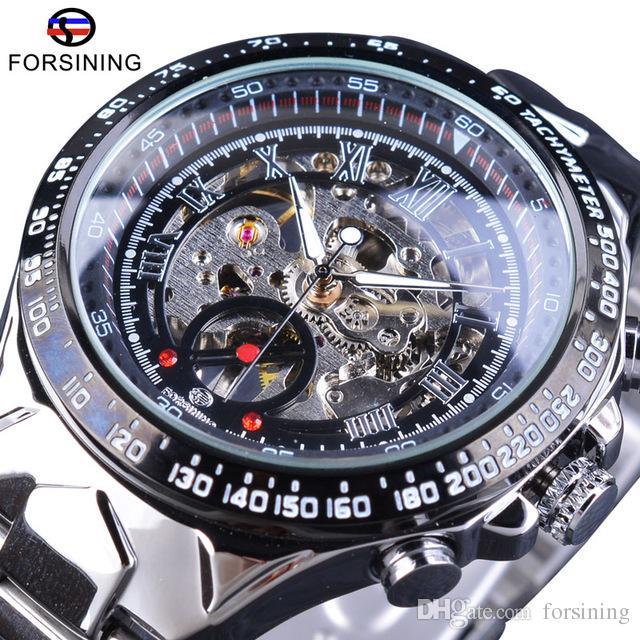 Forsining Luxury Silver Stainless Steel Mechanical Skeleton Men Sport Watches Top Brand Fashion Mens Transparent Case Open Work Wrist Watch