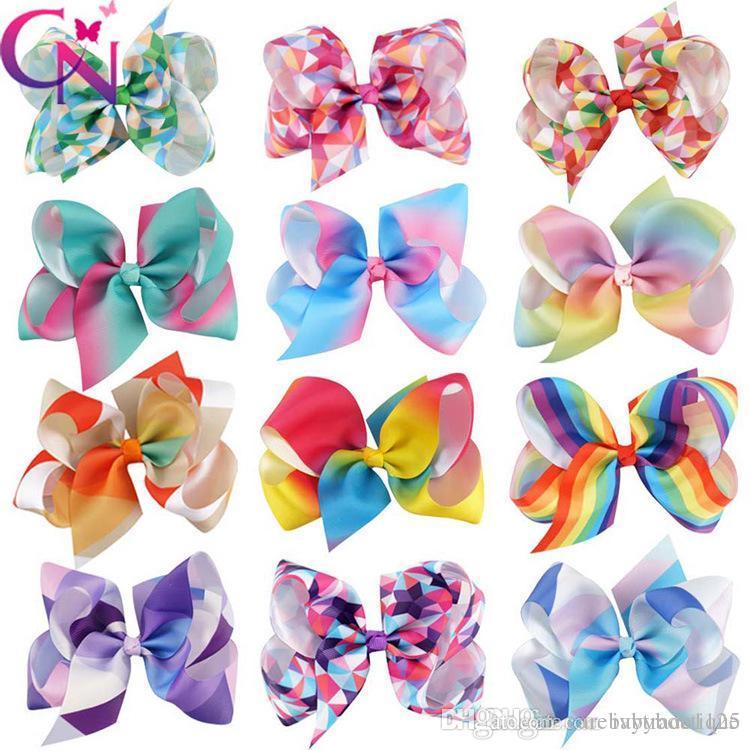 "INS bonito 12 cores 5"" JOJO Bow menina colorida arcos de cabelo partido Geometria imprimir Bow Barrettes menina do arco-íris Hairbands menina meninas unicórnio"
