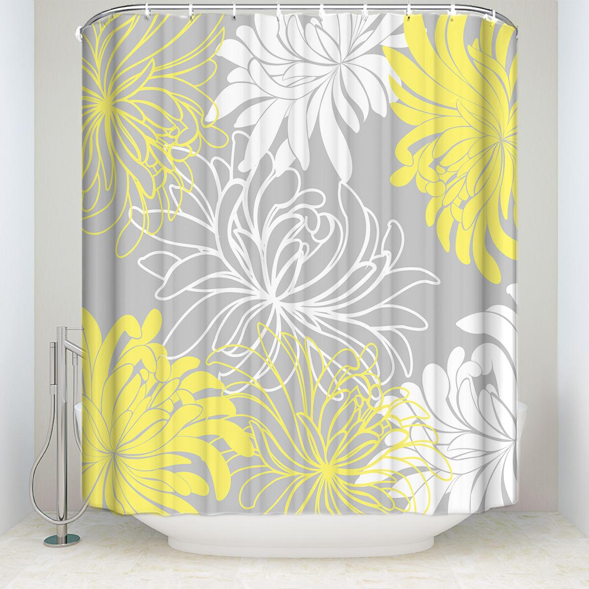 2019 Waterproof Floral Shower Curtain With Hooks Polyester Fabric Daisy Pattern Bathroom Curtains For Home Decor White Gray Yellow From Huayama