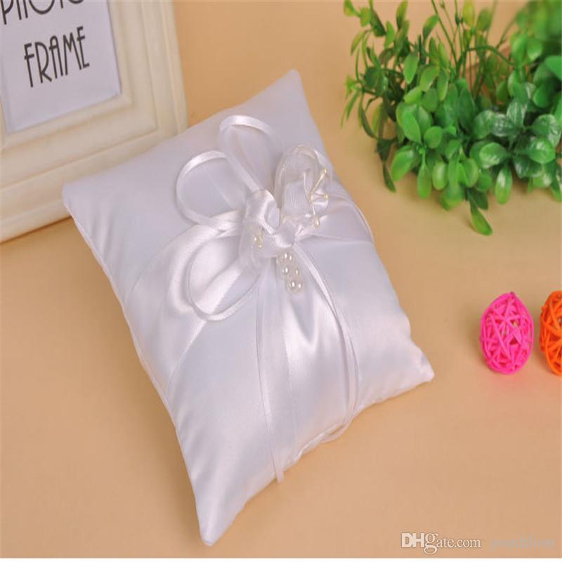 Lovely Flower Buds Wedding Bridal Ring Cuscino Anello di alta qualità Cuscino Cuscino Bianco Accessori da sposa 15 * 15 cm