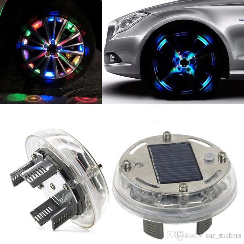 4 모드 12 LED 자동차 자동 태양 에너지 플래시 휠 타이어 림 라이트 램프 타이어 라이트 램프 장식