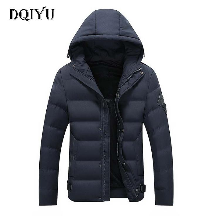 DQIYU Winter Cotton Padded Jacket Men Fashion Thicken Hooded Parkas New Slim Fit Windproof Coats Male Clothing Black Blue