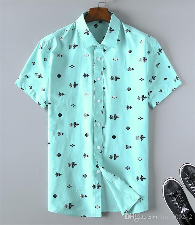 Camicie da uomo Abbigliamento Uomo Slim Fit plaid casuale del progettista abito camicia estiva Chemise Homme Mens scacchi Camicie maniche corte Camicetta CA7