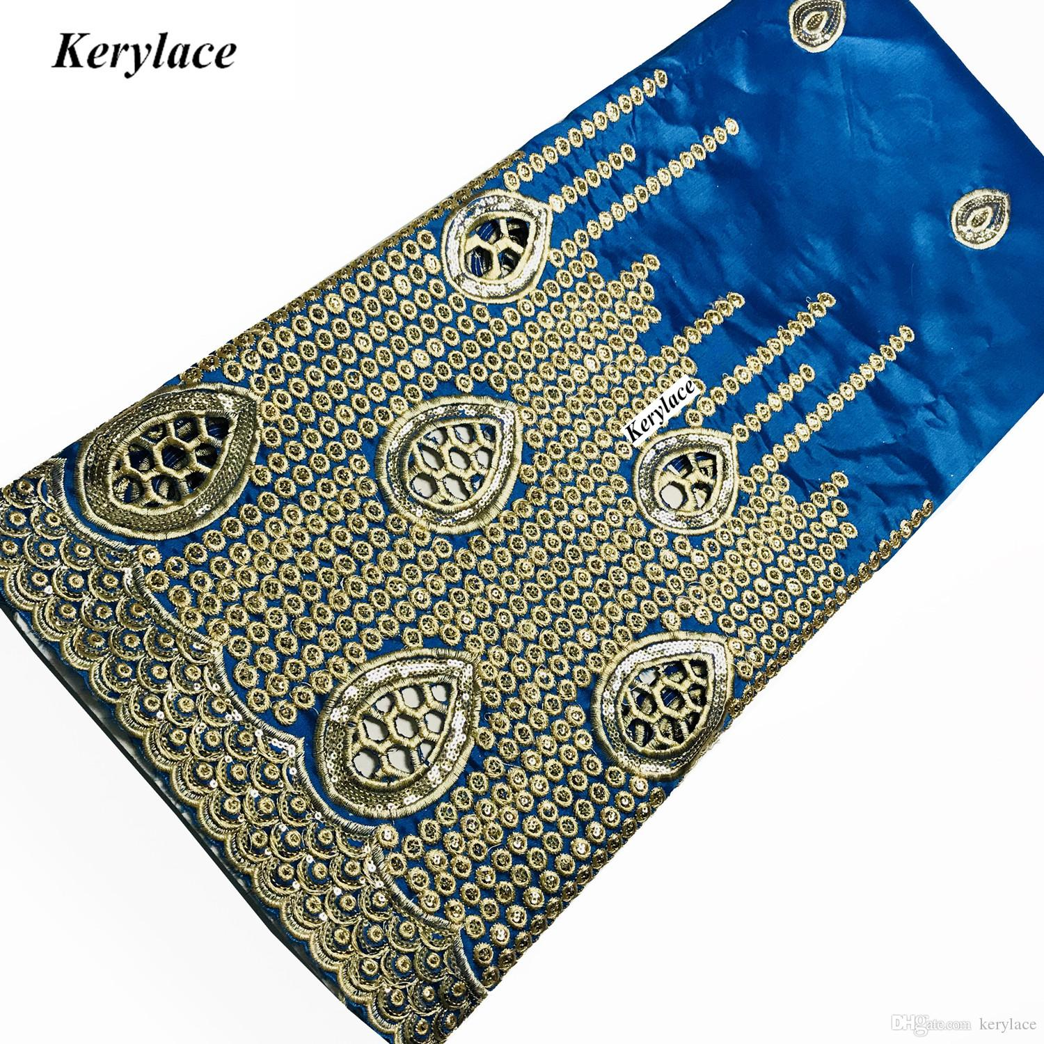 Champagne High Quality Nigerian George Lace Raw Silk African Fabric Sky Blue Embroidery Sequin Fabric French Women Wedding Dresses KRL-9142