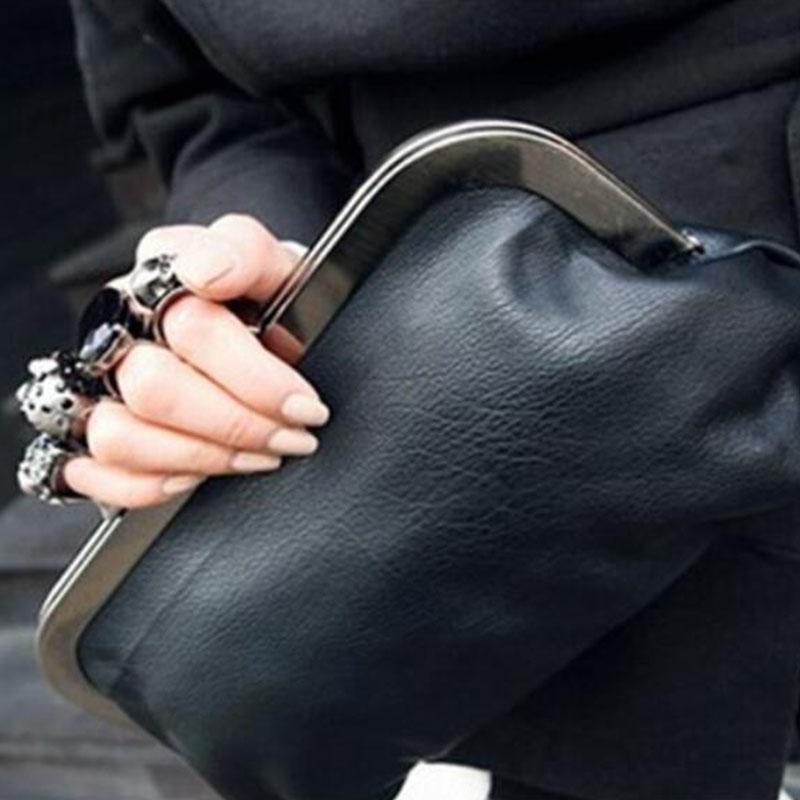 Daunavia النساء البنصر حقيبة سلسلة حقيبة shoudler الماس الجمجمة فنجر الفاصل الأسود مساء مخلب أكياس بو الجلود محفظة كبيرة