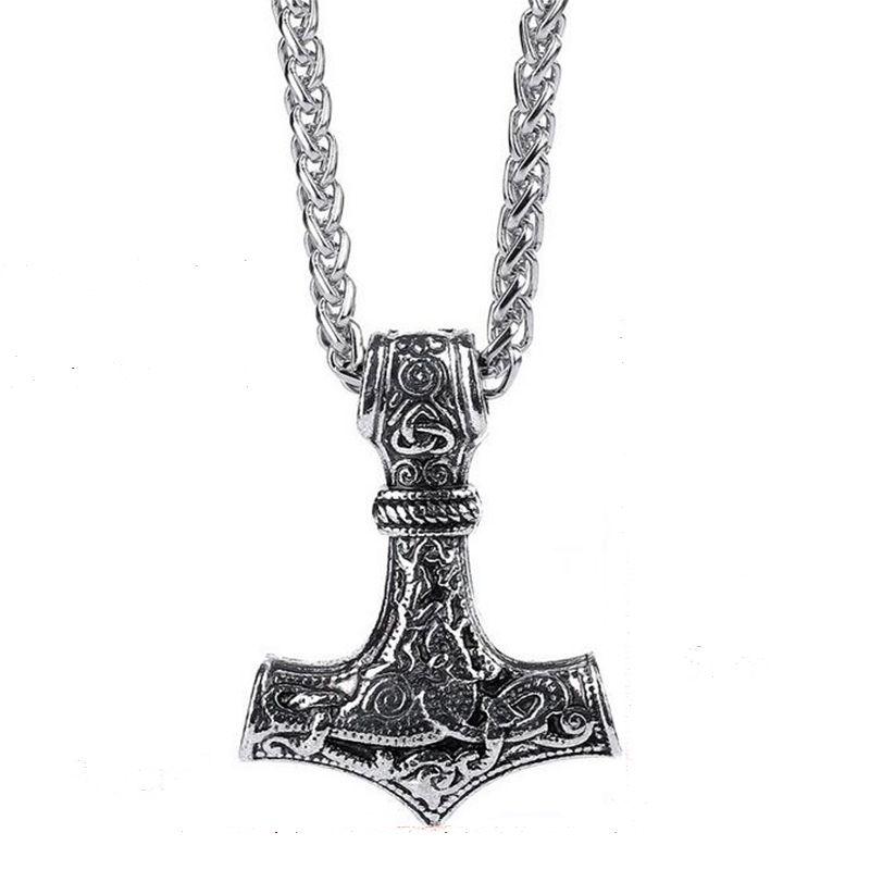 Gothique Viking Bijoux Rétro Hache Corde Collier Femmes Vikings Vintage Homme Pendentif