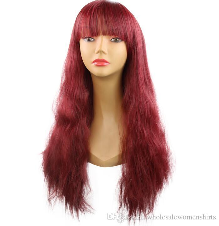 Взрыв модели европейские и американские женщины парики 25 дюймов парика волосы многоцветных длинный вьющиеся волос наборы синтетические продукты парики вещевого мешок