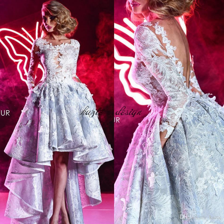 Charming High Low Lace Prom Dresses With Long Sleeves Sheer Bateau Neck Backless Party Evening Dress 3D Appliqued Formal Gowns