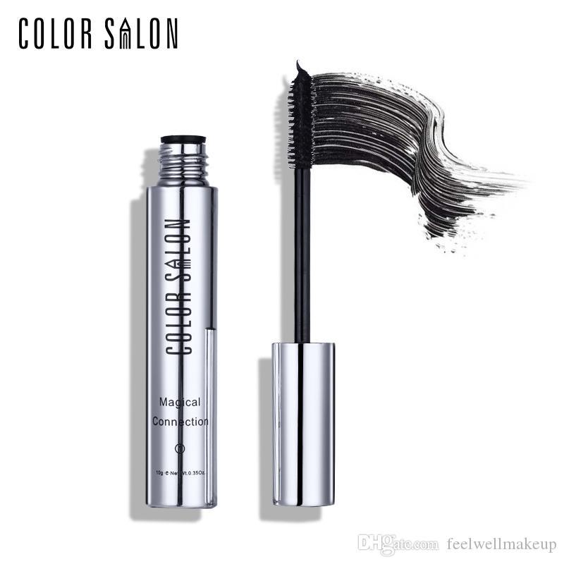 Color Salon 2 unids / set Negro Mascara Impermeable Seda Fibra Volumen Efecto Doble Duradero Alargamiento Curling Ojos Maquillaje