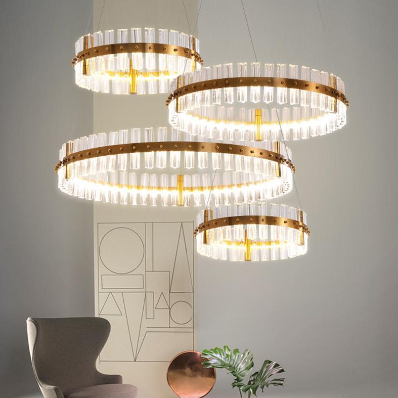 LED Lights Modern Crystal Chandelier European Style Round Shining Crystal Chandeliers Lights Fixture Luxury Home Indoor Lighting New Arrival