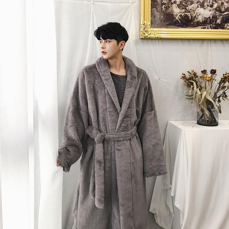 artisanat exquis nouveau style et luxe vente en magasin 2019 Male Faux Fur Robe Jacket Streetwear Autumn Winter Warm Outerwear  Windbreaker Overcoat Cloak Men Long Belt Casual Trench Coat From Piaocloth,  ...