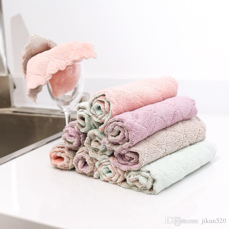 Washing Dish Towel Super Absorbent Kitchen Cleaning Cloth Magic Table Wiping Rags Double Sided Polyster Bathroom Towel