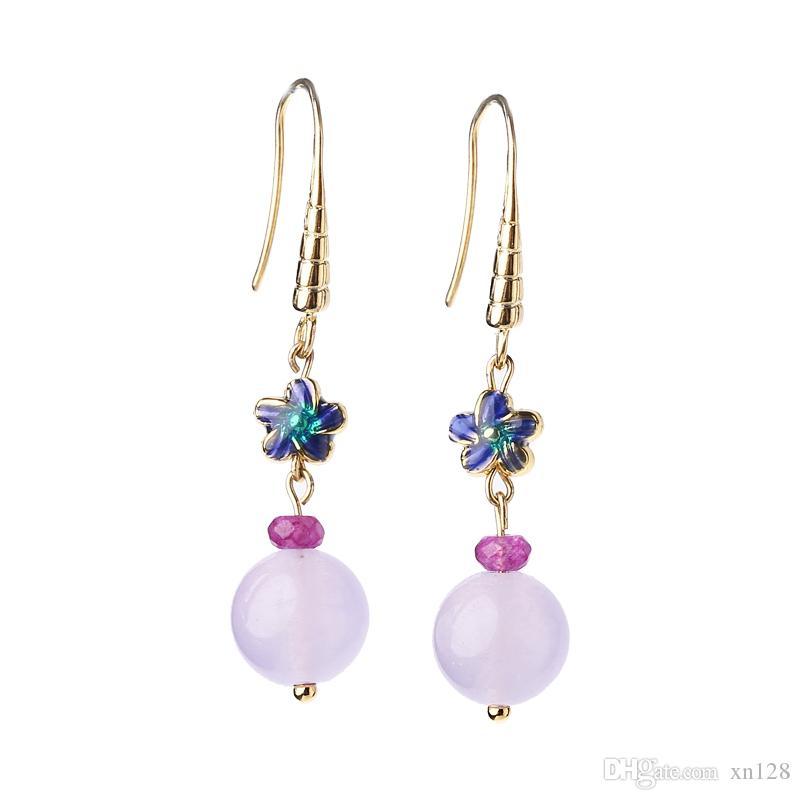 Antikes Silber Ohrringe Retro lila Super Fee Temperament Persönlichkeit wilden kühlen Wind kleine Ohrringe weiblich