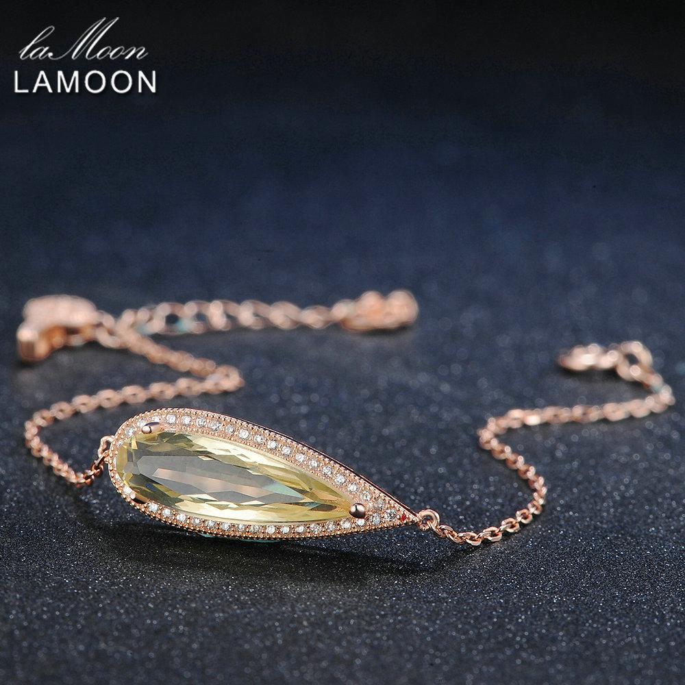 Lamoon слеза роскошь 100% натуральный желтый цитрин стерлингового серебра 925 ювелирных изделий цепи браслет S925 Lmhi010y1882701