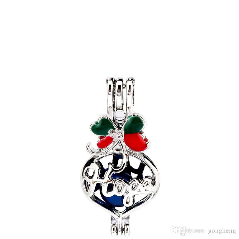 Silver Enamel Heart Hope Letter Wish Bag Oysters Pearl Beads Cage Locket Pendant Aromatherapy Perfume Essential Oils Diffuser