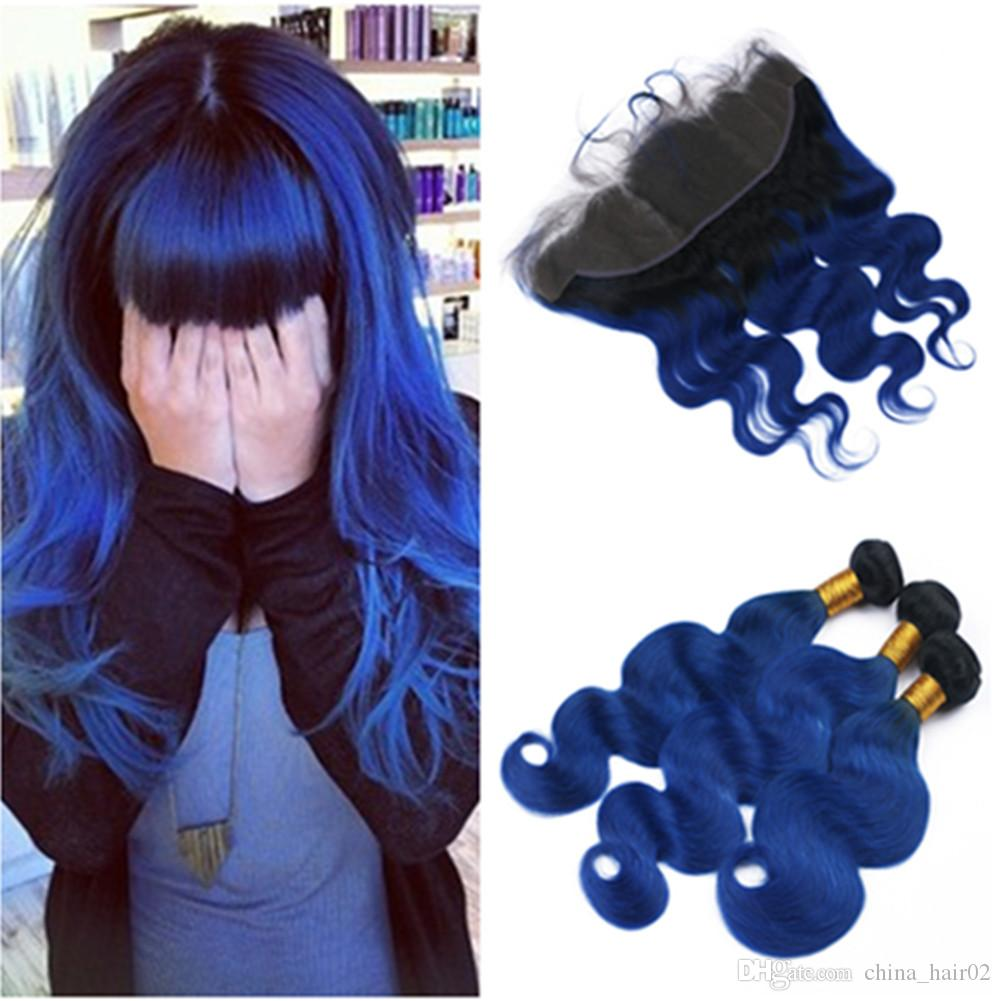 # 1B / الأزرق أومبير الهندي نسج الشعر حزم مع موجة الجسم أمامي أومبير الأزرق الداكن 13x4 الرباط أمامي إغلاق مع لحمة الشعر البكر