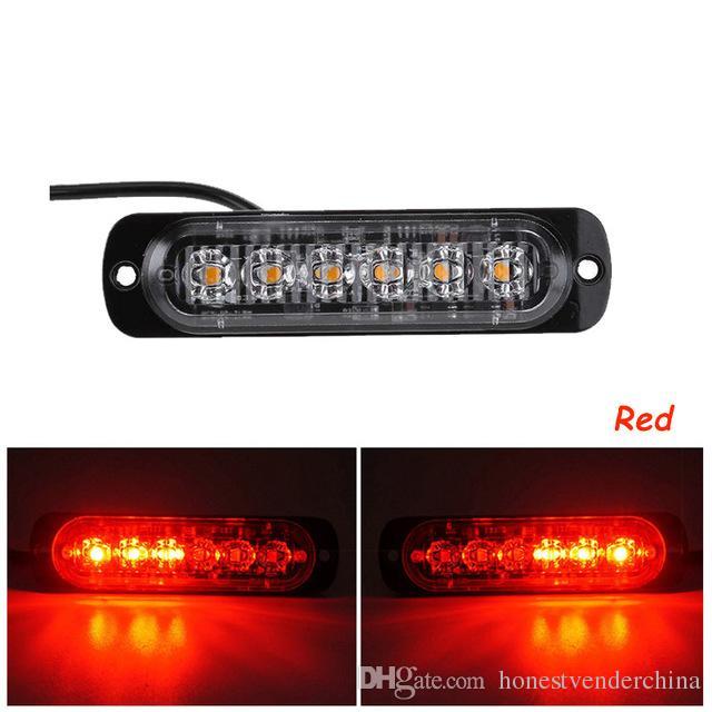 2X ultrasottile strobo luci LED camion dell'automobile del motociclo 6 LED 18W ambra lampeggiante di pericolo d'avvertimento di emergenza della lampada DC12V 24V