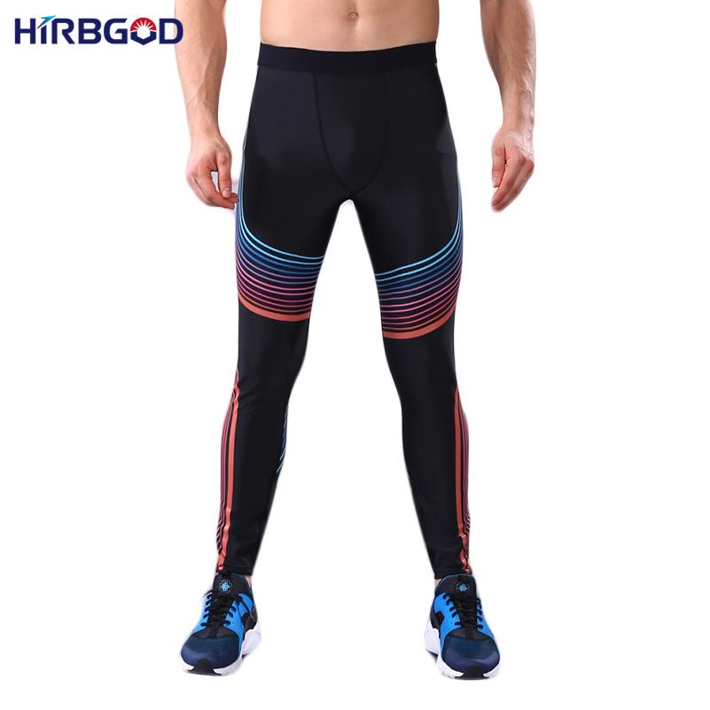 HIRBGOD Blue Red Stripe Stampa Yoga Pant uomini Stretti Pantaloni da corsa Sport Legging Compressione Fitness pantaloni a vita alta Sport, HT035