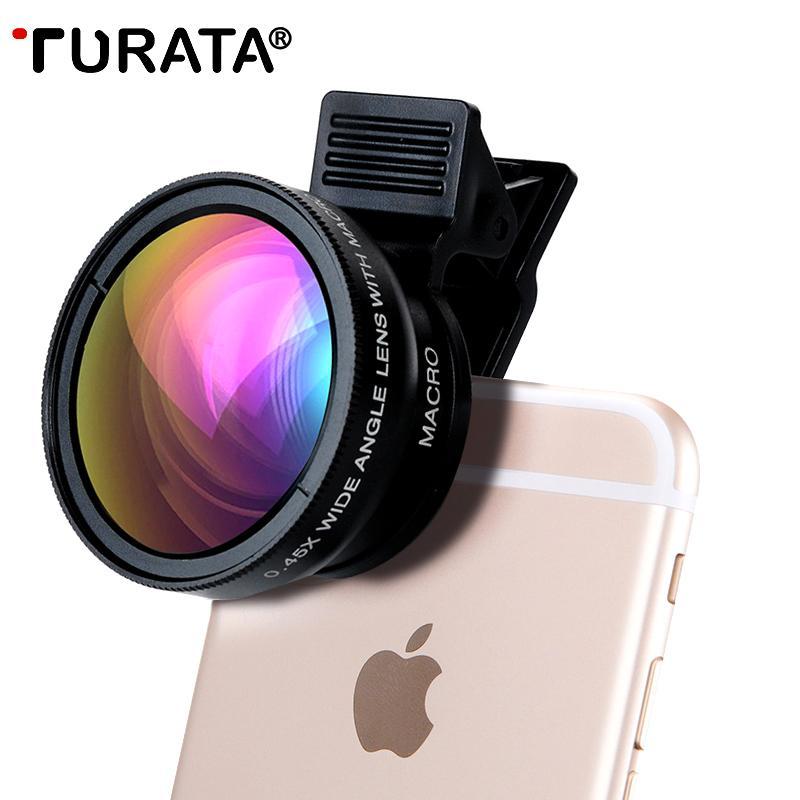 الجملة عدسة الكاميرا الهاتف ، 2 في 1 المهنية عدسة الكاميرا كيت [0.45X زاوية واسعة + ماكرو 12.5X] تصميم كليب على الهواتف الذكية