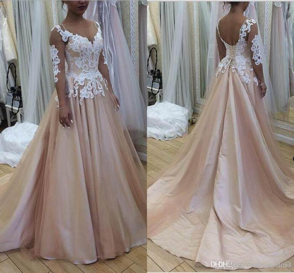Newest Blush Country A line Wedding Dresses Sheer Neck 3/4 Long Sleeves Lace Tulle Satin Aline Wedding Gowns Backless Plus Size Bridal Dress