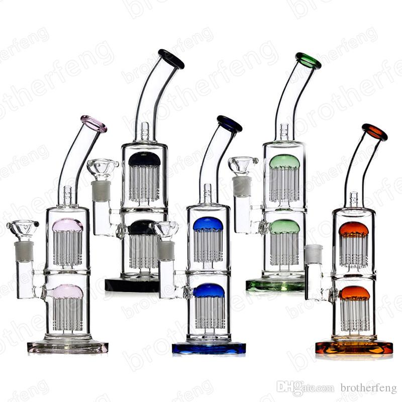 Glass bong water pipes oil rigs arm-tree percolators for smoking use with 11.5 inches 18 mm female joint