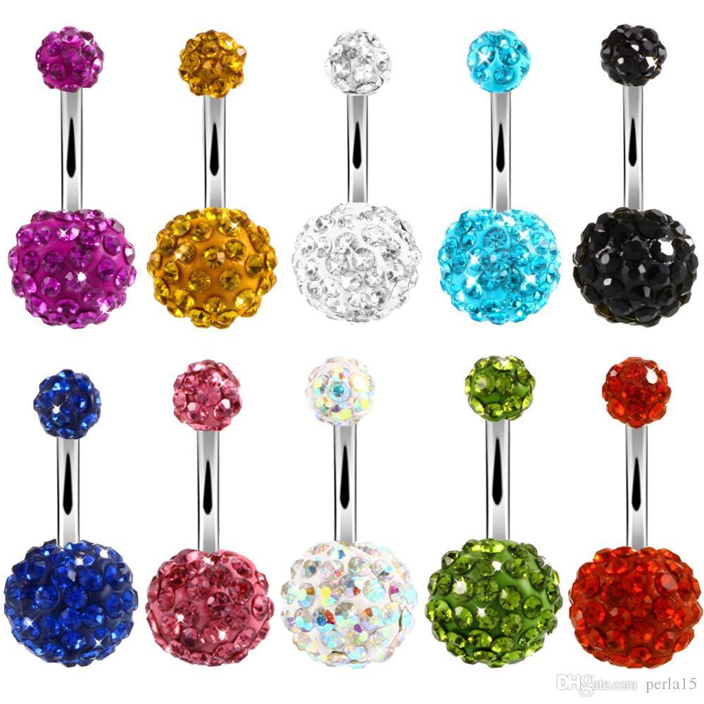 العصرية السرة ثقب مجوهرات مثير كريستال ديسكو 316l الفولاذ المقاوم للصدأ البطن زر خواتم الجسم مجوهرات ثقب Ombligo