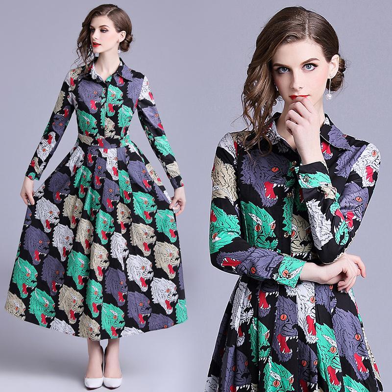 Femmes Robe Tête De Tigre Muliticolor Imprimer Taille Haute Big Swing À Manches Longues Dame Élégante Automne Shift Bureau Robes De Fête