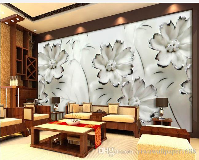 Encre de Chine fleur de vent jade sculpture fond TV mur photo murale papier peint