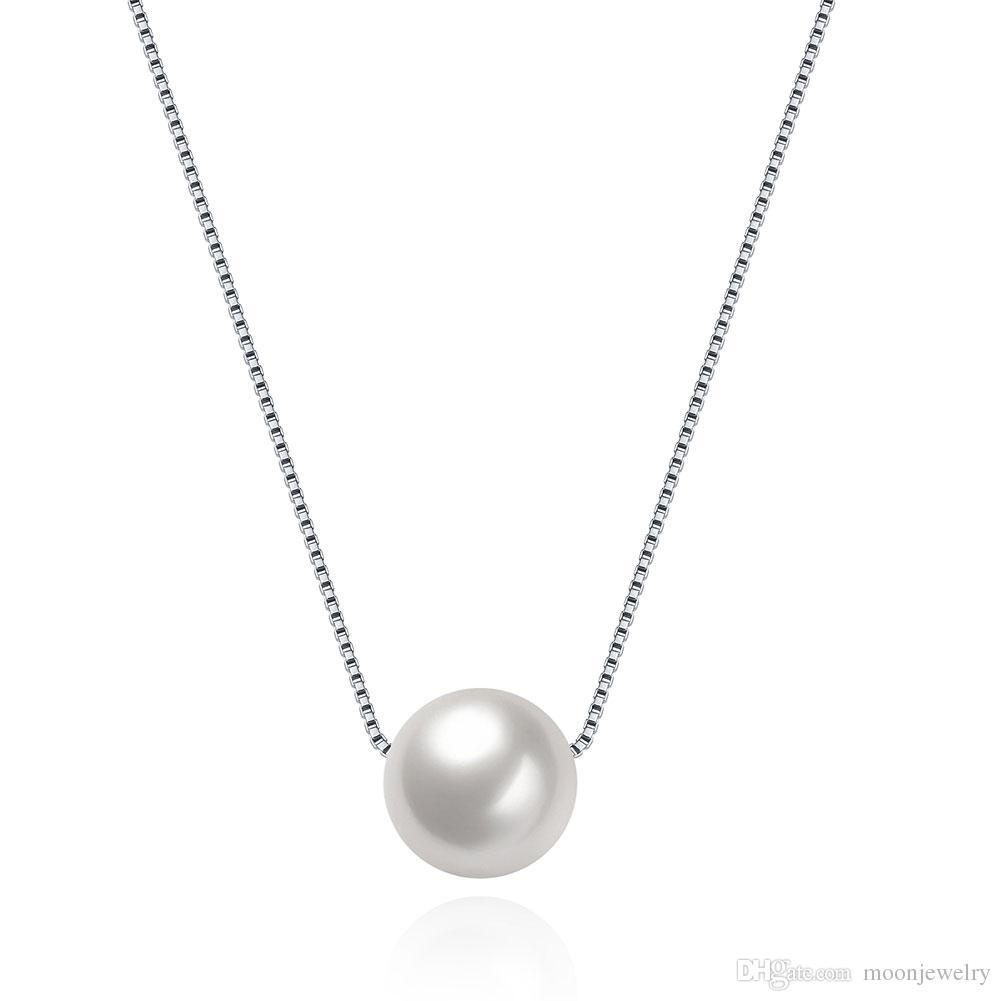 Hot sale Pearl sterling silver necklace 925 sterling silver pendant necklace for girlfreind gift