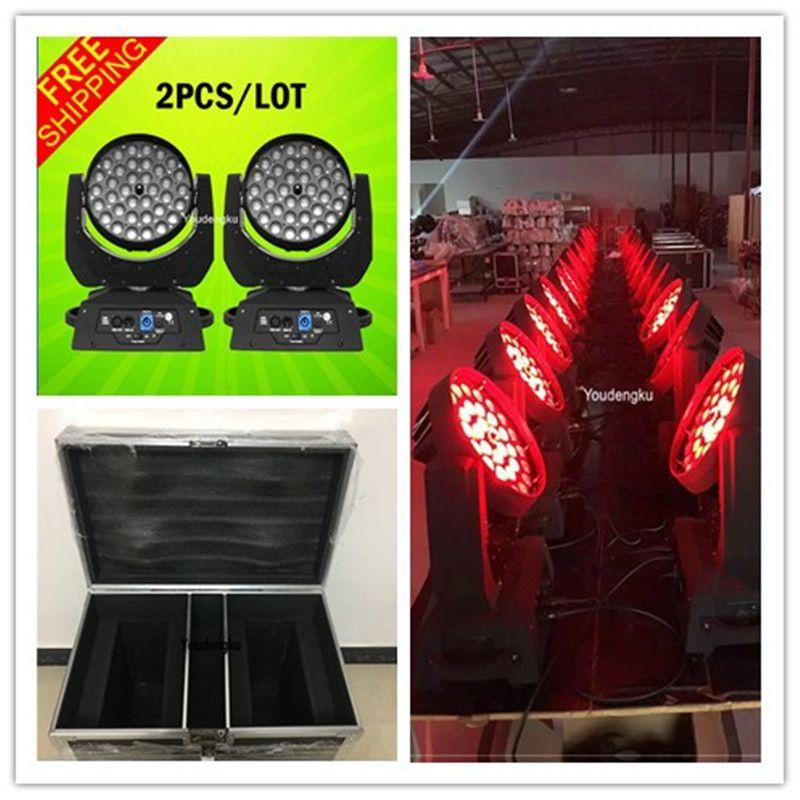 Flightcası ile 2 parça Çin MX512 RGBWA UV Yıkama DMX Zoom 6in1 LED Hareketli Kafa Yıkama 36x18W LED Yakınlaştırma Işığı