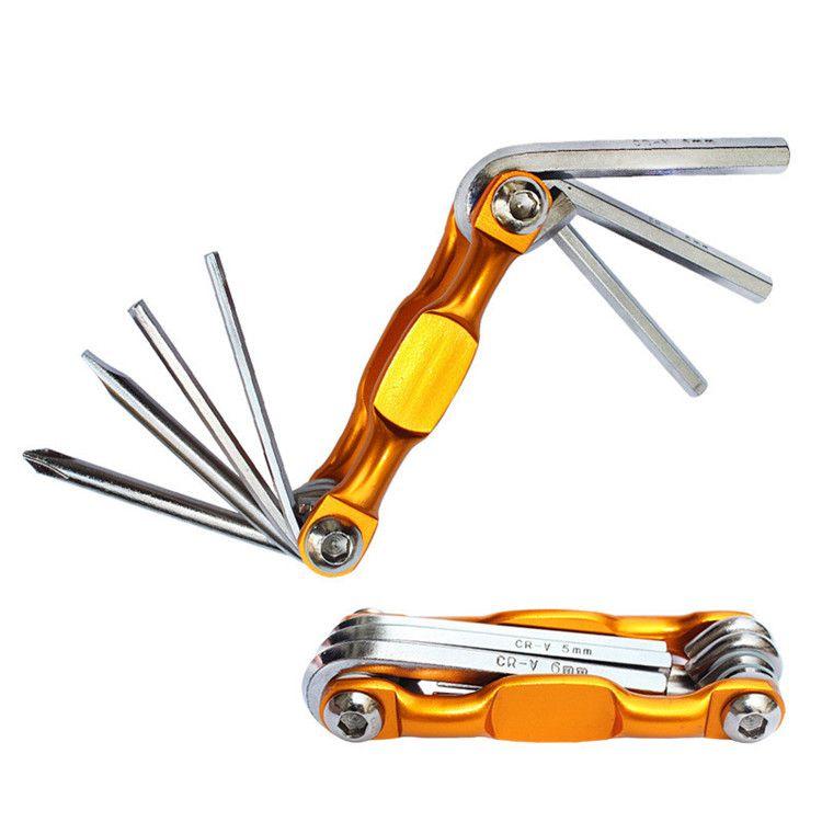 접이식 자전거 수리 공구 7 in 1 고정 자전거 자전거 도구 키트 렌치 스크류 드라이버 체인 탄소강 사이클 다기능 도구