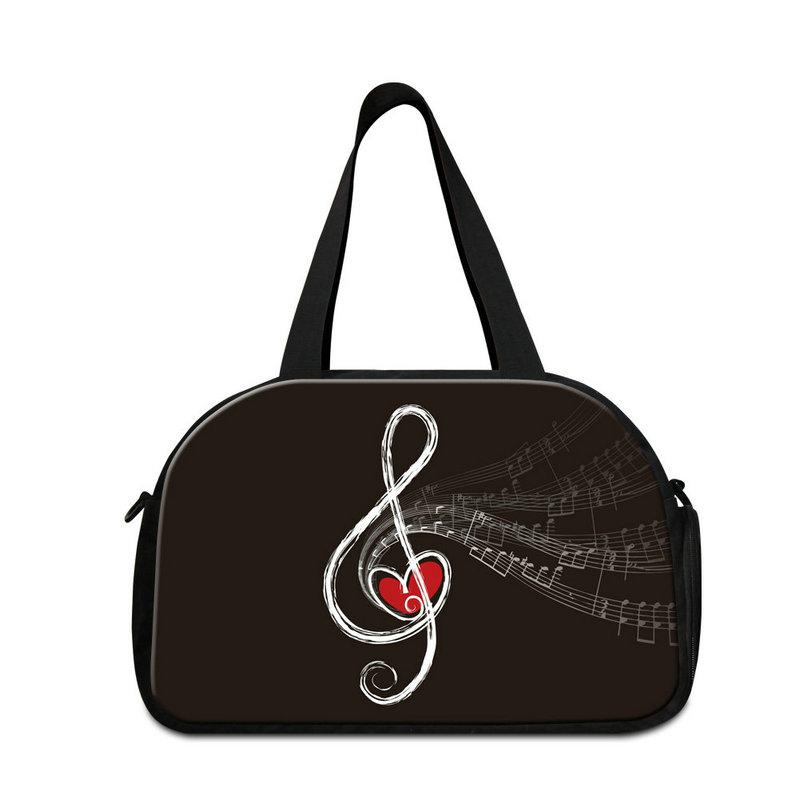 Top Quality Canvas Messenger Duffle Bag For Traveling Musical Note Hand Luggage Travel Shoulder Bags With Shoes Pocket Students Gym Duffel
