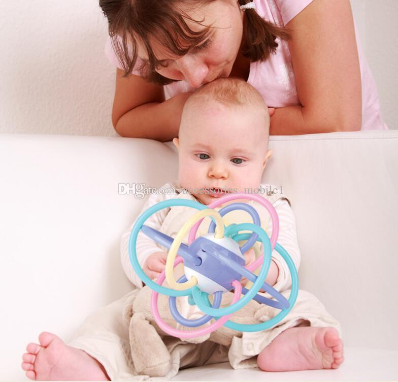 Wholesale for 0-3 Years Old Baby Teether Toy Baby Tooth Color Ball Ball Version of Molar Tooth Glue Box Ball Rattles SF