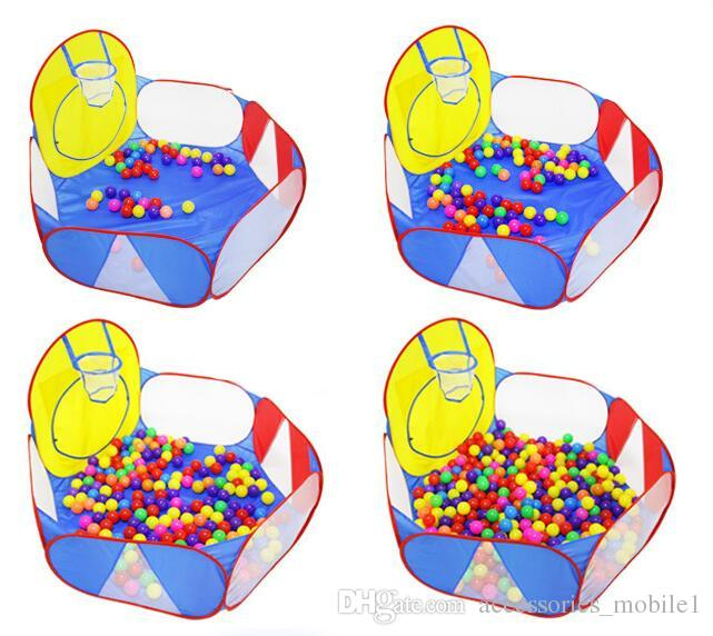 Play Tent Basketball Hoop 1.2m Extra Portable Foldable Cute Polka Dot Playpen Ball Pit Pool Children for Kids Gifts