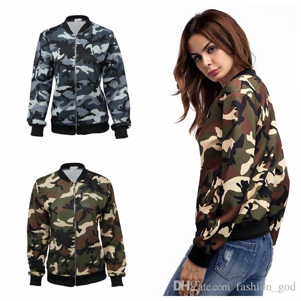 Kadın Kamuflaj Ceket Sonbahar Fermuar Coat Uzun Kollu Camo Bombacı Dış Giyim Tops Moda Kadın Ince Ceket Ceketler Casual Kabanlar YFA505