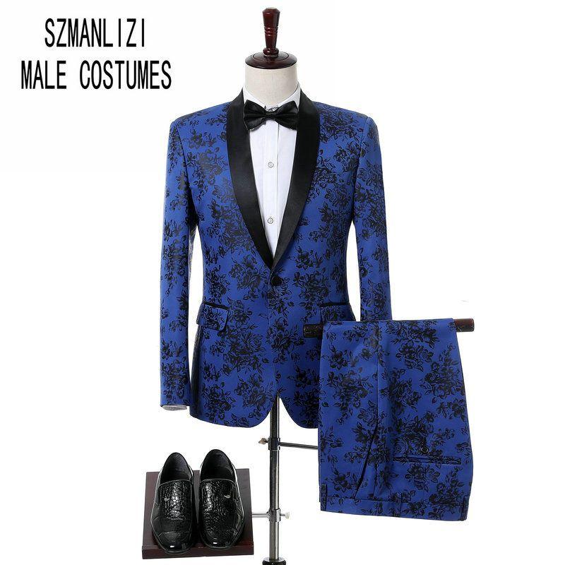 2018 Slim Fit Classique Hommes Manteau Pantalon Design Partie Costumes De Bal Marié De Mariage Smoking Groomsmen Châle Revers Bleu Et Noir Rose Hommes Costume
