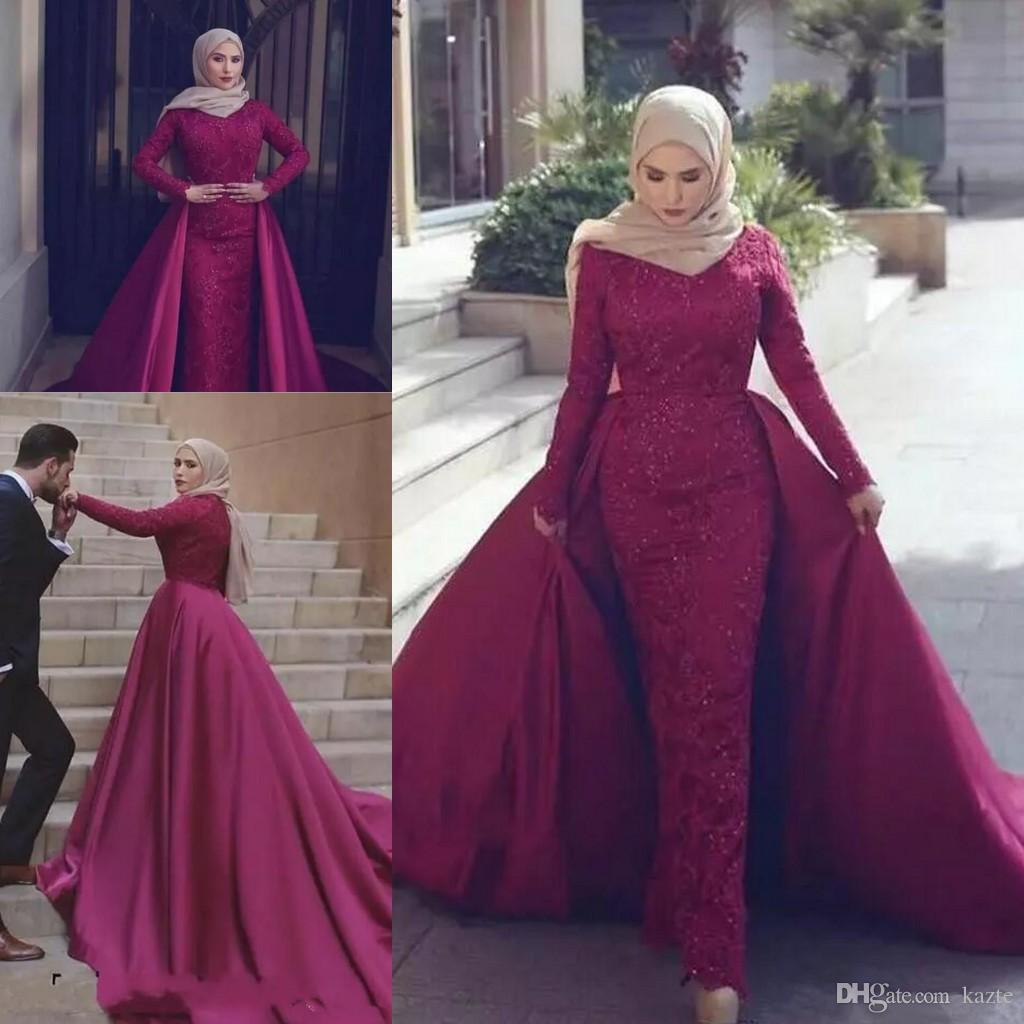 Burgundy Prom Dresses with long sleeve 2018 High Neck Lace Chapel Train Sexy Muslim hijab dubai arabic Overskirt Evening Wear formal Gown