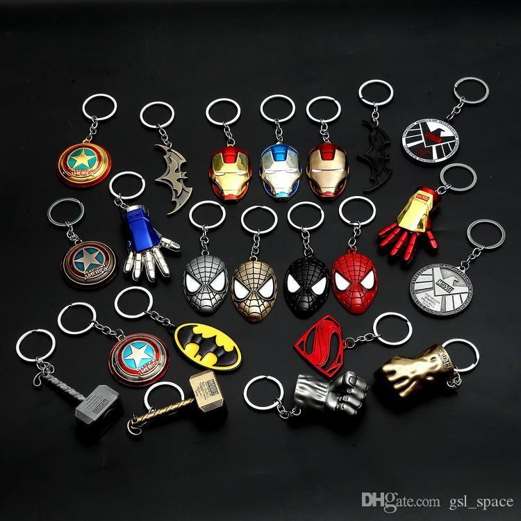 Hot Sale Captain America Shield Keychain The Avengers Superman Superhero Batman KeyChain Ring Key ring Fashion Accessories