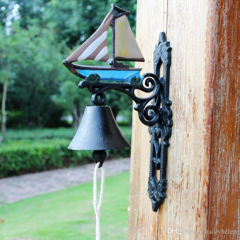Nautical Cast Iron Wall Mount Sailboat Porch Bell Painted Garden Patio Courtyard Seashore Sea Decor Sailing Ship Boat Welcome Dinner Bell
