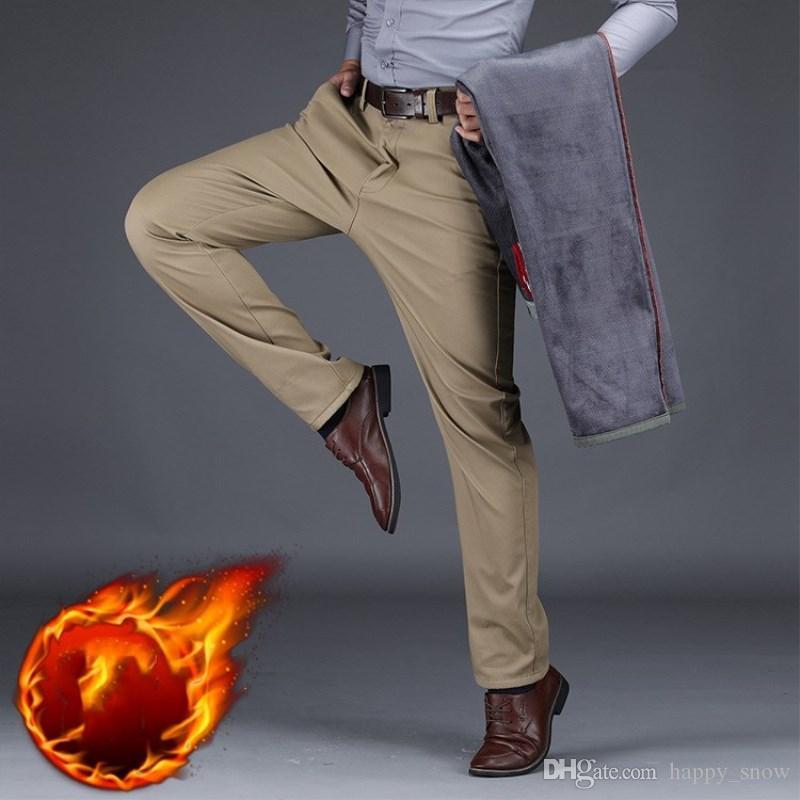 Pantaloni autunno inverno per il tempo libero Pantaloni in pile Plus Size 42 44 Moda uomo PANTALONI CASUAL Pantaloni lunghi da uomo