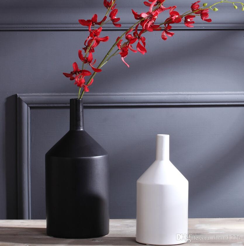 bianco nero bocca piccola ceramica creativo contratto fiore vaso casa arredamento artigianato vasi decorazione della stanza porcellana figurine