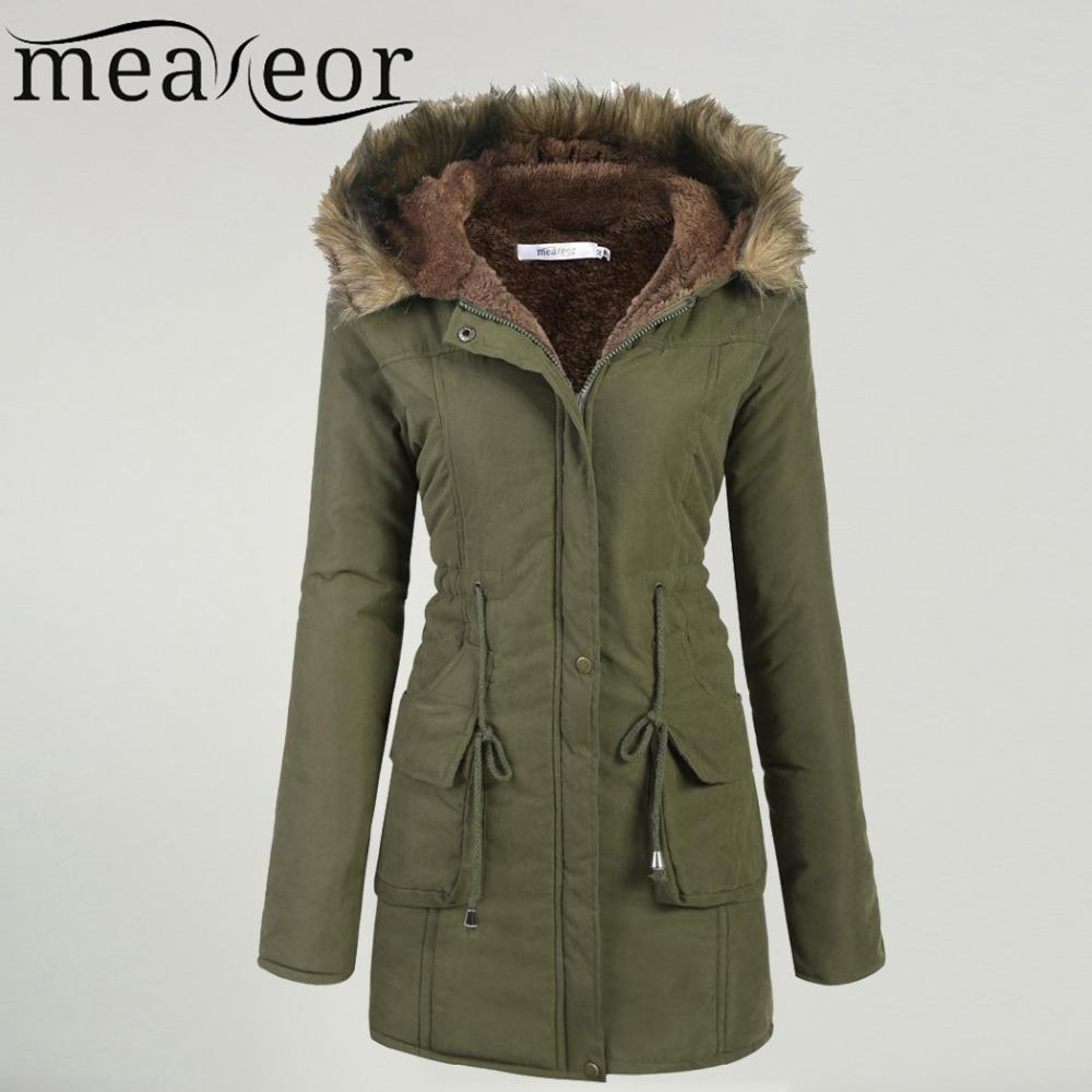 Meaneor Women's Winter Coat 2017 Casual Faux fur Hooded Warm Drawstring Waist Slim Coat Fleece Lined Parka Female Pocket
