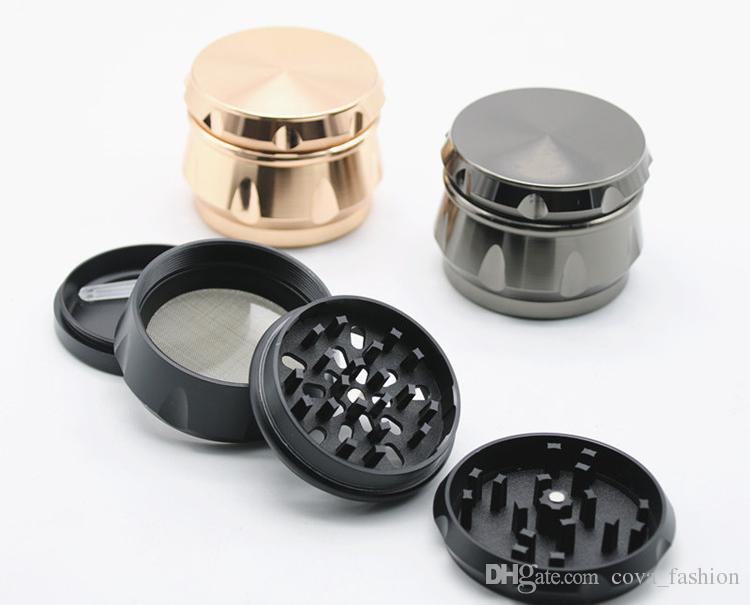 3 colores Nuevo Diseño lado cóncavo Molinillos de hierba 63 * 45mm 4 partes de aleación de zinc metal Tabaco Grinder OEM acepta