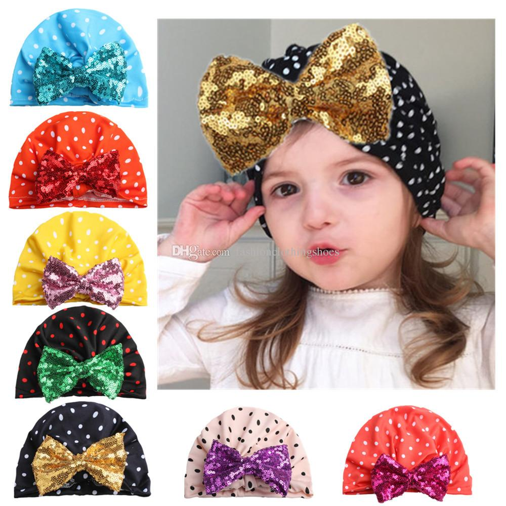 India Child Bandanas headband Dot Turban Hat with Sequins Bow Children Hat Cotton Blend Beanie Top Knot Kids head wrap Cap
