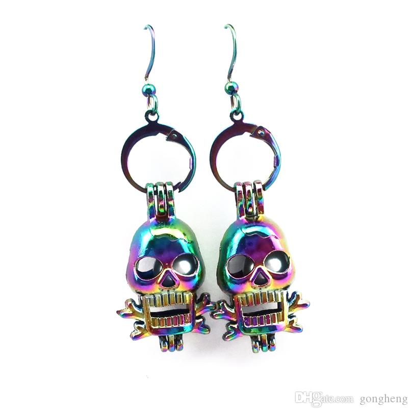 Z220 Rainbow Color Cute Bijou Skull Pearl Cage Earrings Hooks with 8mm Plastic Beads Girl's Gift