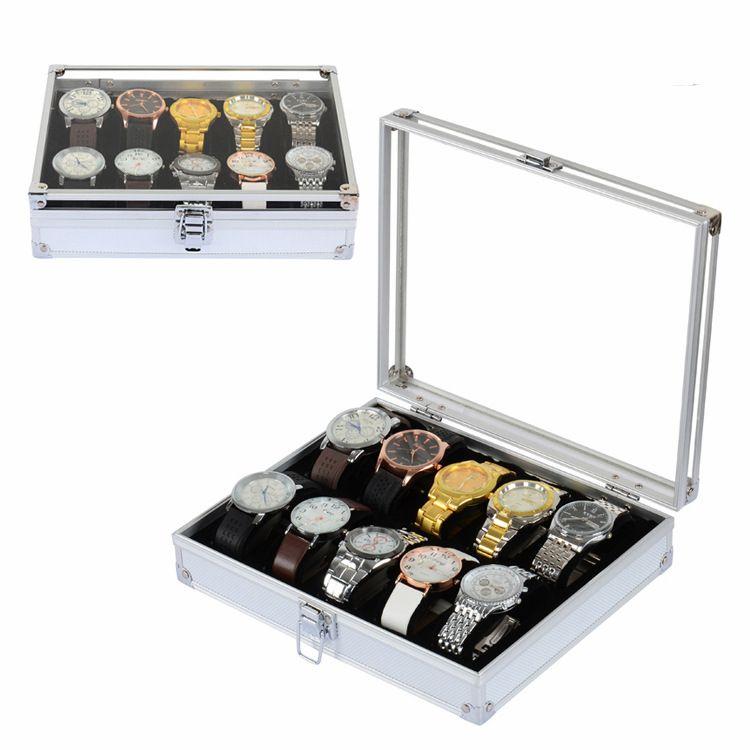 10 Caja de exhibición de reloj de aluminio de rejilla Relojes caja de joyería organizador del almacenaje 2017 nuevo envío gratis