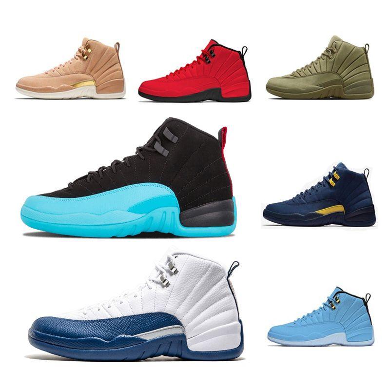 Zapatos de baloncesto Taxi 12s 12 Hombres juego de la gripe Burdeos Bulls Playoff UNC gimnasio Red Athletics Deportes al aire libre zapatillas de deporte 7-13