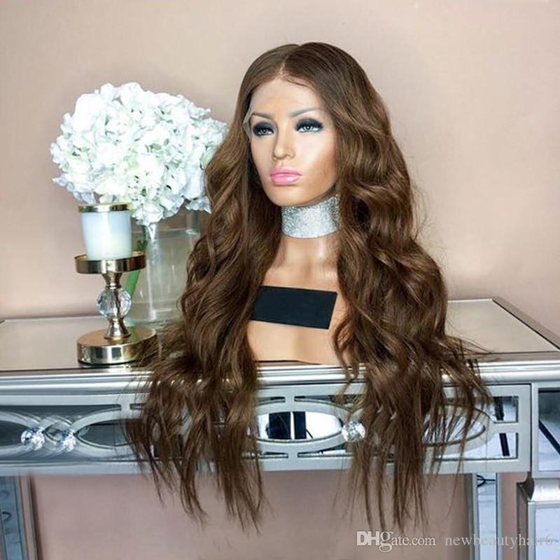 Мода светло-коричневый парик фронта шнурка 30 дюймов Длинные моделирования парик человеческих волос Натуральное тело волнистые синтетические парики фронта шнурка термостойкие